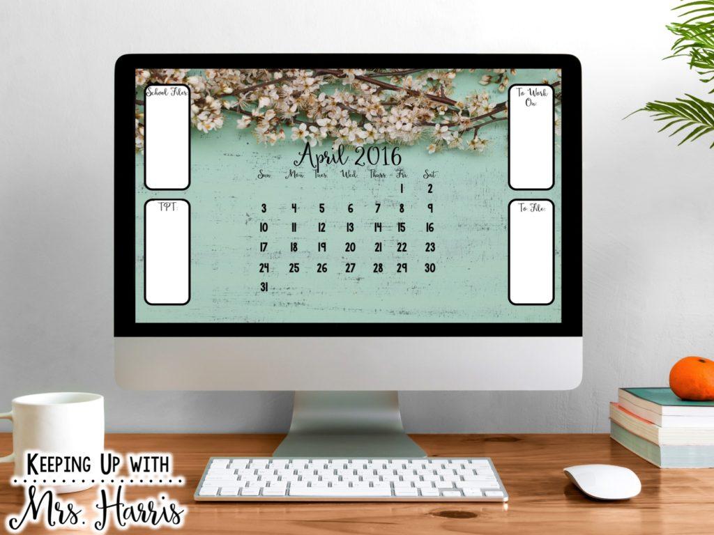 Free April Desktop Organizer