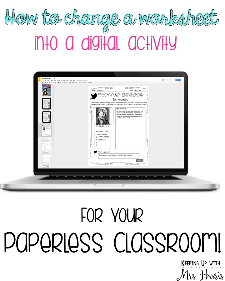 Learn how to change your worksheets into digital activities for your students! Go paperless with these simple steps!