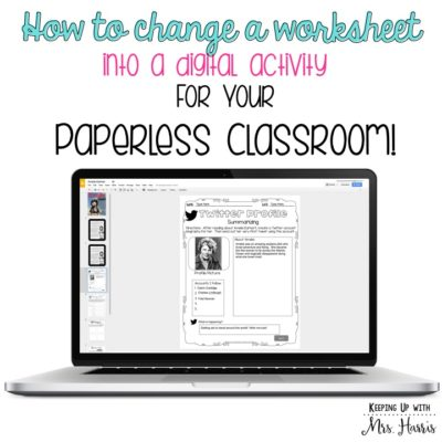 Change a Worksheet to a Digital Activity