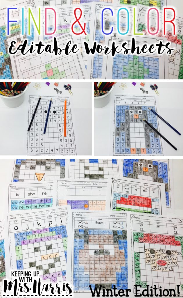 Winter Find and Color - Editable activities for the winter months to review letters, numbers, and math problems.