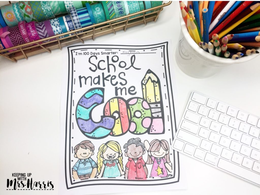 100th Day of School Activities - free color page for celebrating the 100th Day of School in your classroom