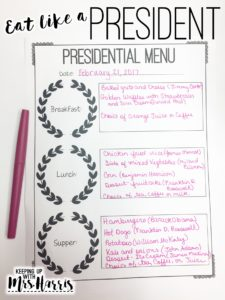 Presidents Day - Create a menu fit for a president