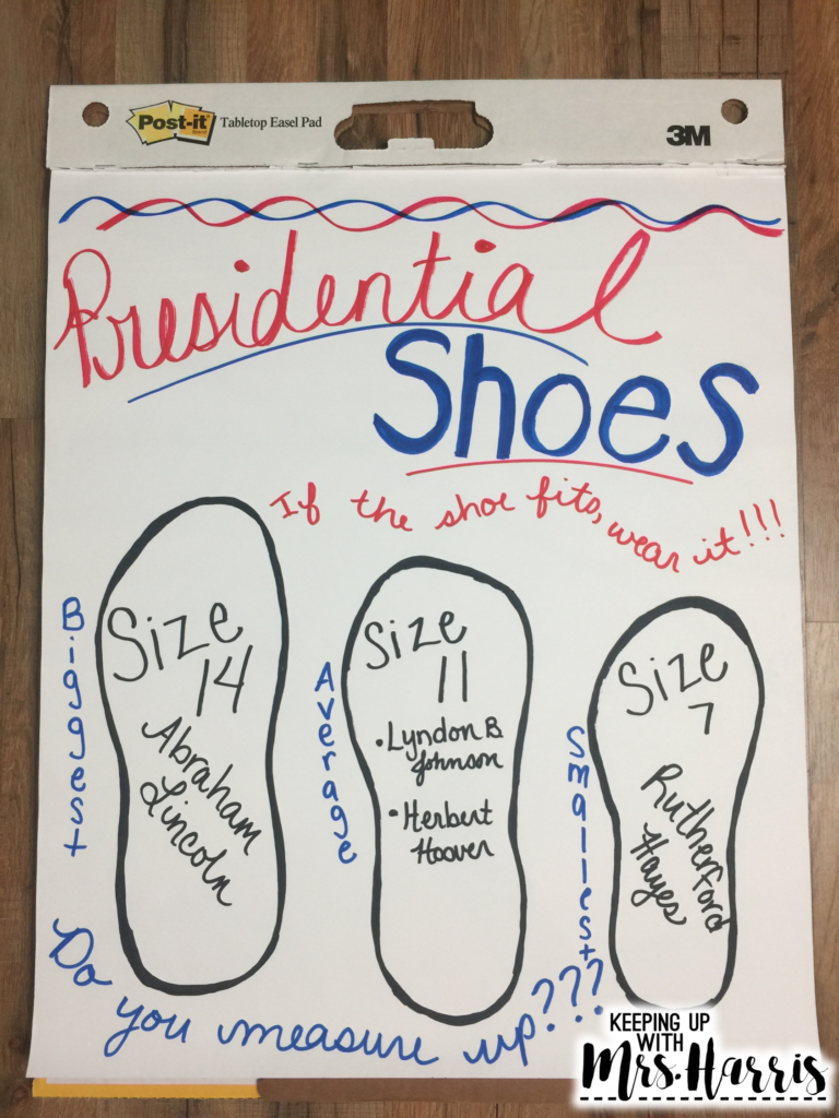 Presidents Day activity - What big feet you have, Mr. President!