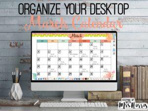 March Desktop Calendar - March Calendar Template