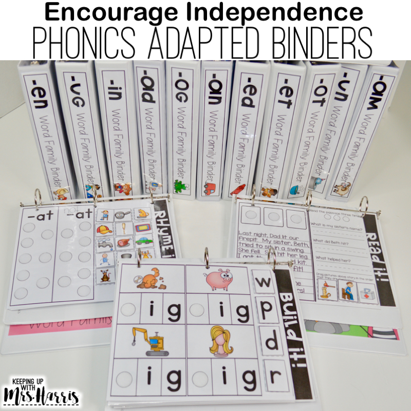 phonics adapted binder, phonics activities for kindergarten, phonics games, phonics for first graders