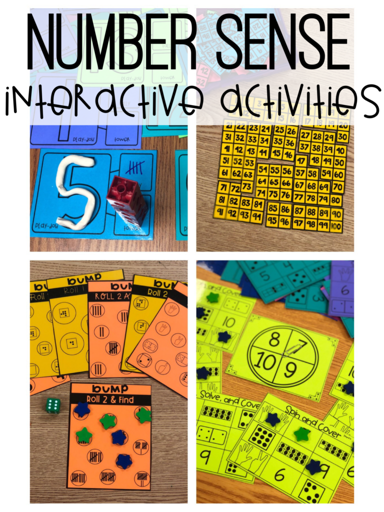 Number sense activities for first grade.  Number sense games and centers along with number sense and early place value books.