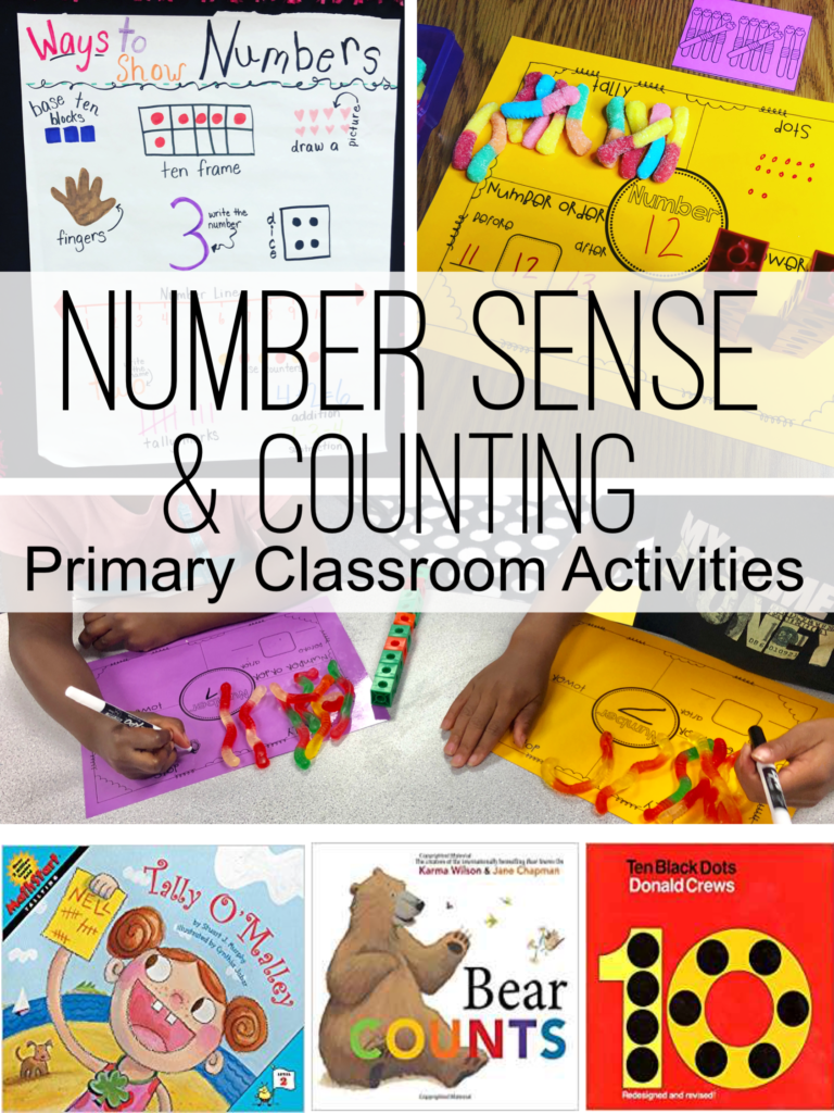 Number Sense activities for the classroom. First grade number sense picture books, printable, anchor chart and more!