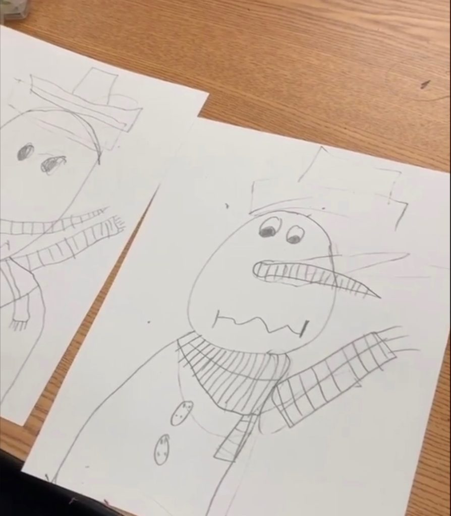 Snowman Activities - snowman directed drawing activities for elementary students or kids.