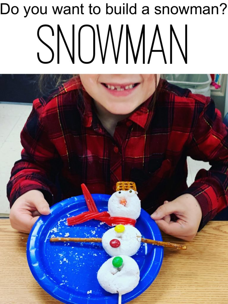 Snowman activities - snowman snack for kids.