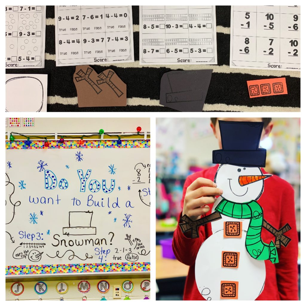 Snowman Activities - Snowman Subtraction activity for winter months.