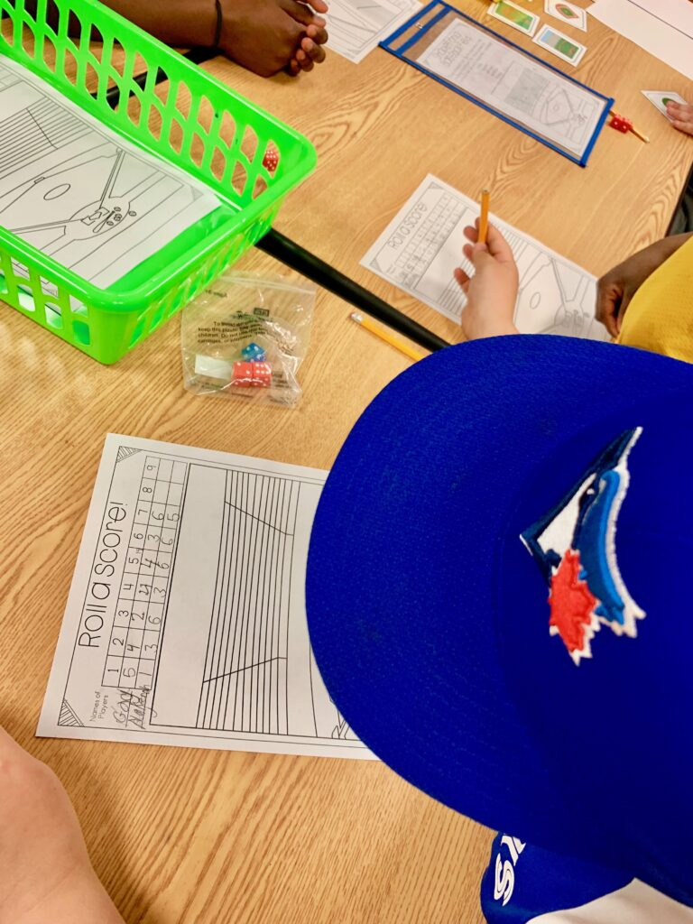 1st grade math review - Baseball room transformation for first grade math activities.