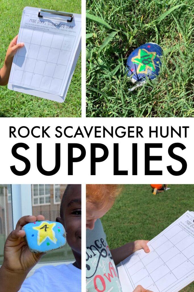 Math Review activity for first grade.  Math Rock Scavenger Hunt to review math.  #mathreview #firstgrademath #mathactivity
