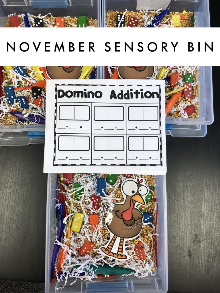 November Sensory bin for first graders.  November math center that is fun and hands on.
