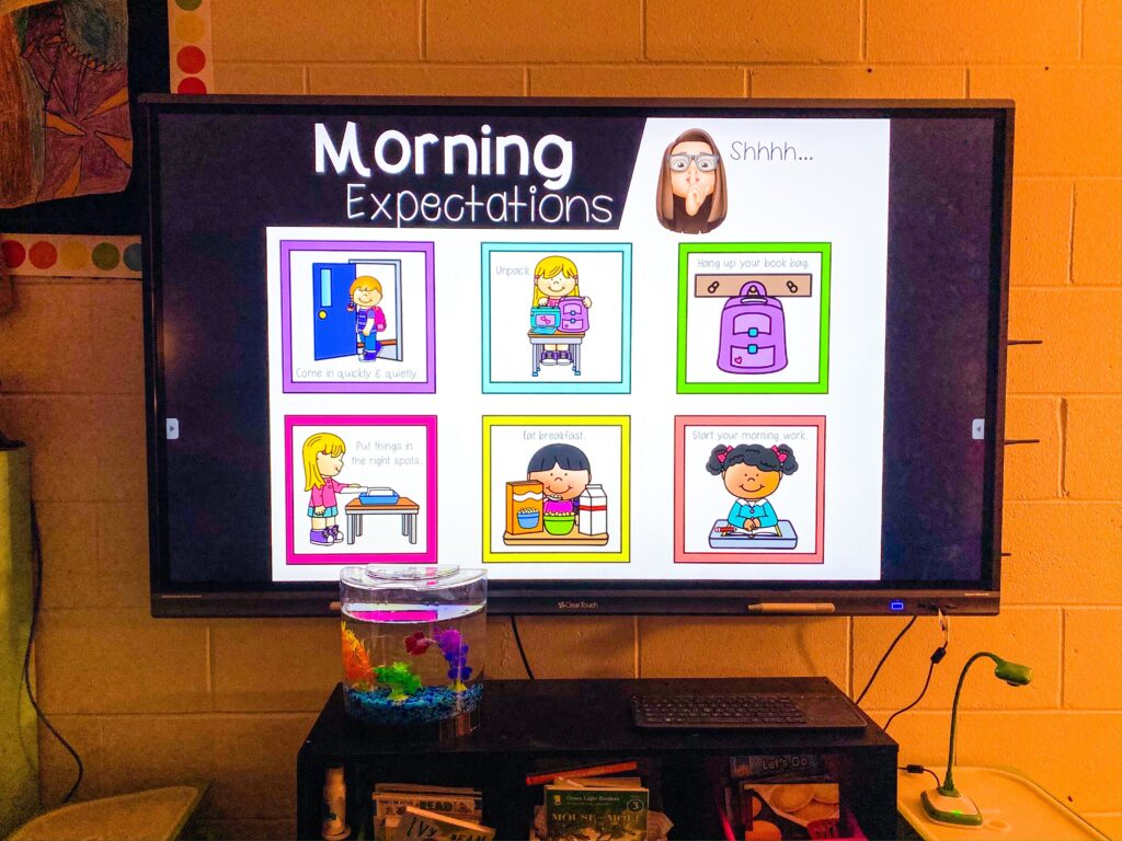 Classroom expectation chart and digital display.  Improve classroom behavior by displaying expectations.