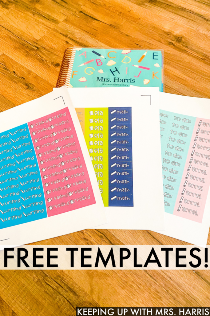 Setting up your teacher planner? I'm sharing how I print and prepare stickers for my Erin Condren Teacher planner along with free stickers!  Check it out!