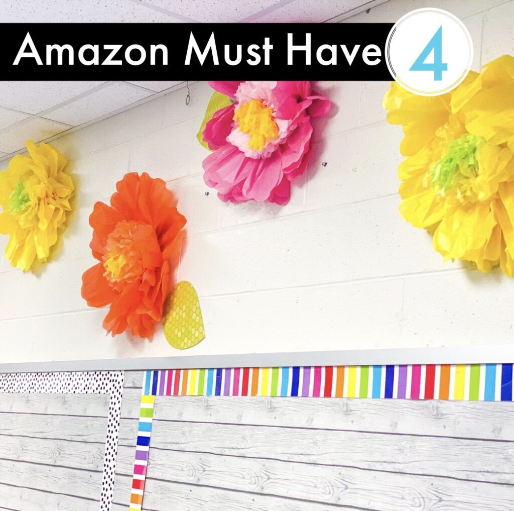 Amazon Classroom Must Have -  Tissue paper flowers to decorate your classroom.
