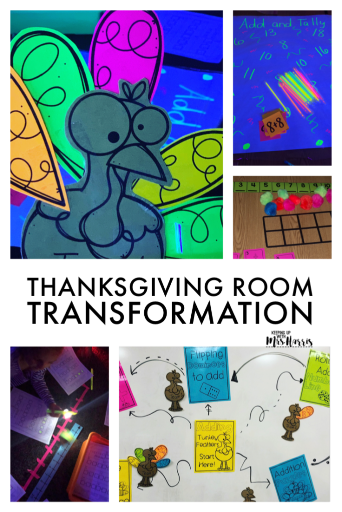 Thanksgiving Room Transformation for first grade classrooms to review addition skills. Sure to be a hit for your first graders during the month of November.
