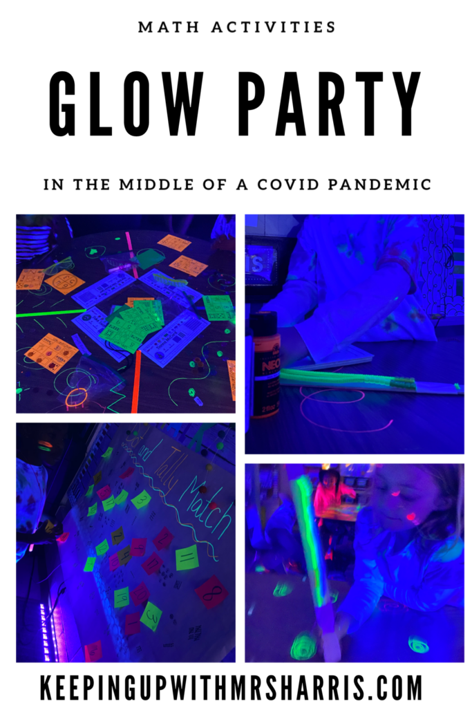 Glow Party ideas in the middle of a COVID Pandemic.  How to set up a safe and fun room transformation for primary students.